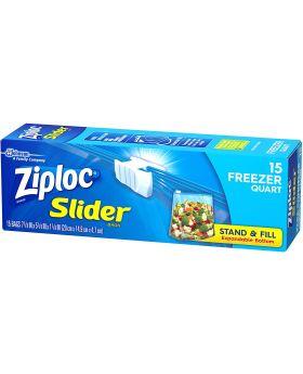ZIPLOC FREEZER QUART SLIDER 15CT