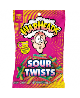 WARHEAD PEG SOUR TWISTS 4oz12CT