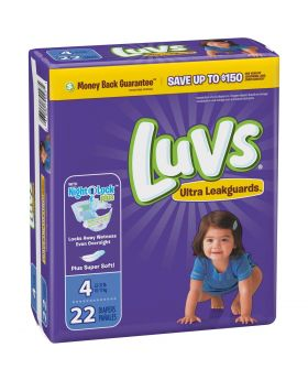 LUVS DIAPERS # 4 LARGE 22CT