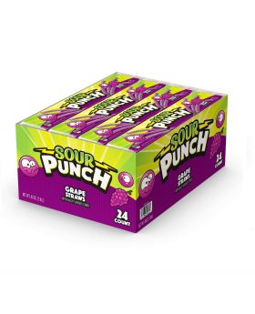 SOUR PUNCH STRAW GRAPE 24 CT